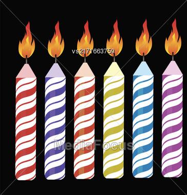 Set Of Colorful Burning Retro Candles Isolated On Black Background Stock Photo