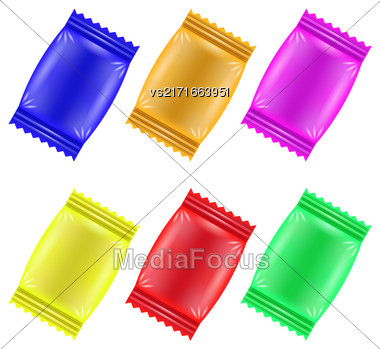 Set Of Colorful Candies Isolated On White Background Stock Photo