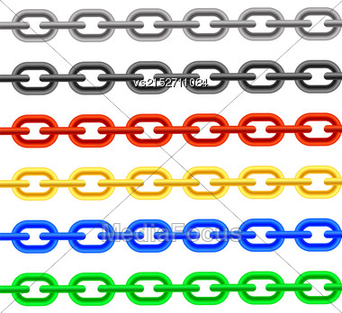Set Of Colorful Chain Iaolated On White Background Stock Photo