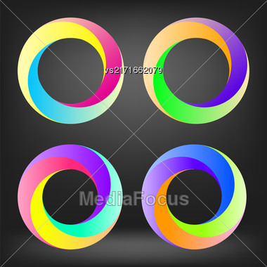 Set Of Colorful Circle Icons Isolated On Grey Background Stock Photo