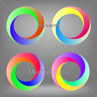 Set Of Colorful Circle Icons Isolated On Grey Background Stock Photo