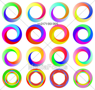Set Of Colorful Circle Icons Isolated On White Background Stock Photo