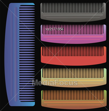 Set Of Colorful Combs Isolated On Black Background Stock Photo