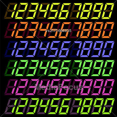 Set Of Colorful Digital Numbers Isolated On Dark Background Stock Photo