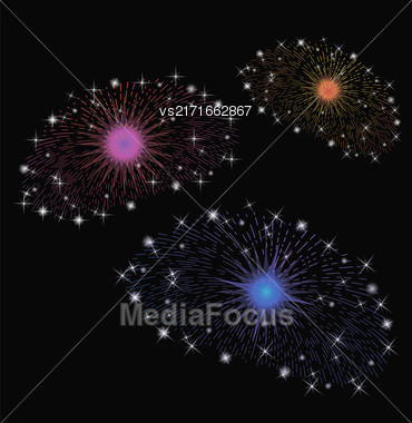 Set Of Colorful Fireworks Isolated On Dark Background Stock Photo