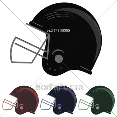 Set Of Colorful Football Helmet Icons Isolated On White Background Stock Photo