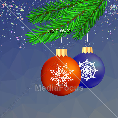 Set Of Colorful Glass Balls On Blue Polygonal Starry Background. Christmas Balls And Green Fir Bbranch Stock Photo