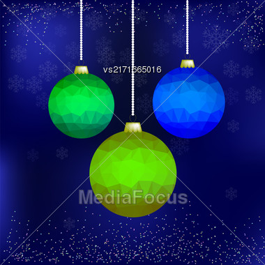 Set Of Colorful Glass Balls Isolated On Blue Snowflakes Background Stock Photo