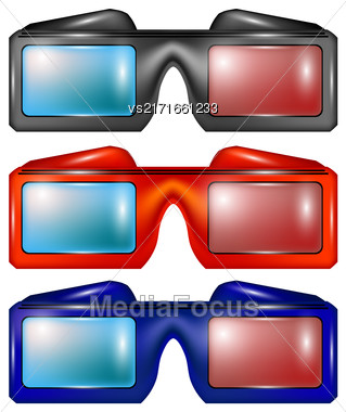 Set Of Colorful Glasses For Watching Movies Isolated On White Backround Stock Photo