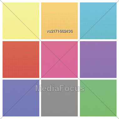 Set Of Colorful Halftone Backgrounds. Colored Dots Effect Stock Photo