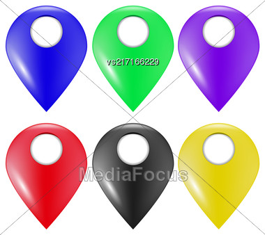 Set Of Colorful Marker Icons Isolated On White Background Stock Photo