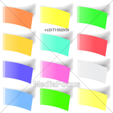 Set Of Colorful Notes Isolated On White Background Stock Photo