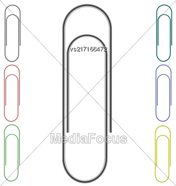 Set Of Colorful Paper Clips Isolated On White Background Stock Photo