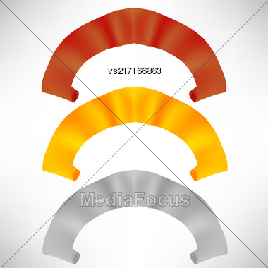 Set Of Colorful Paper Scrolls Isolated On White Background. Colored Ribbons Stock Photo