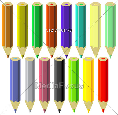 Set Of Colorful Pencils Isolated On White Background Stock Photo