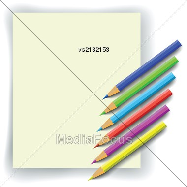 Set Of Colorful Pencils And Paper For Your Design Stock Photo