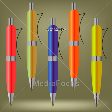 Set Of Colorful Pens Isolated On Brown Background Stock Photo