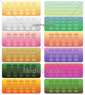 Set Of Colorful Pills Blisters Isolated On White Background Stock Photo
