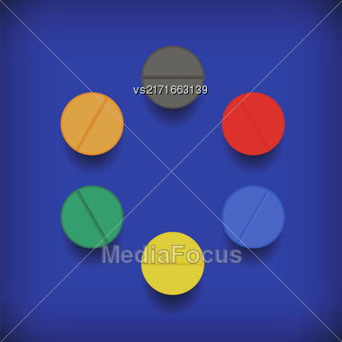 Set Of Colorful Pills Isolated On Soft Blue Background Stock Photo