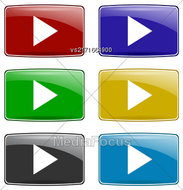 Set Of Colorful Play Icons Isolated On White Background. Glossy Colored Play Buttons Stock Photo