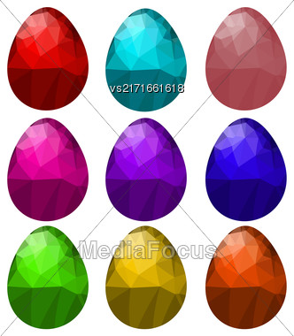 Set Of Colorful Polygonal Easter Eggs Isolated On White Background Stock Photo
