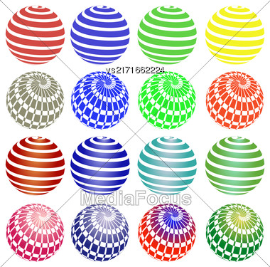 Set Of Colorful Round Symbols Isolated On White Background Stock Photo