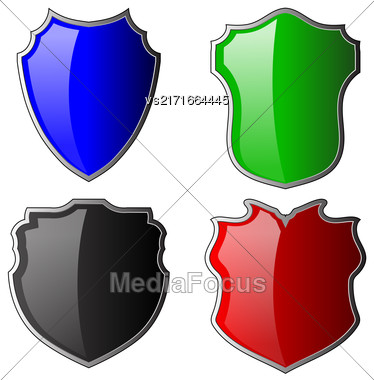 Set Of Colorful Shields Isolated On White Background Stock Photo