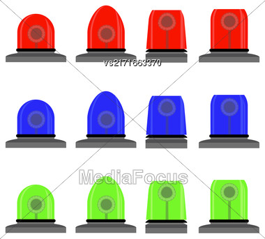 Set Of Colorful Siren Isolated On White Background. Red, Blue, Green Lights. Police And Emergency Flashes. Rotating Beacon Flasher Icons Stock Photo