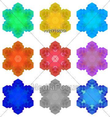 Set Of Colorful Snowflakes Isolated On White Background Stock Photo