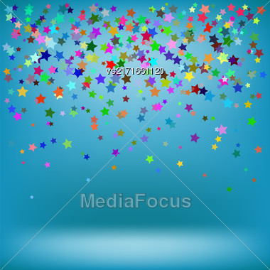 Set Of Colorful Stars On Azure Background. Starry Pattern Stock Photo