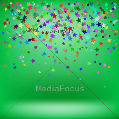 Set Of Colorful Stars On Green Background. Starry Pattern Stock Photo