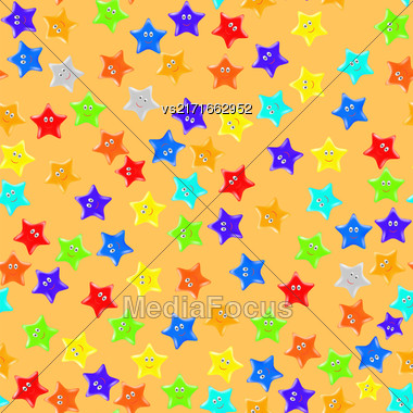 Set Of Colorful Stars On Orange Background. Seamless Starry Pattern Stock Photo
