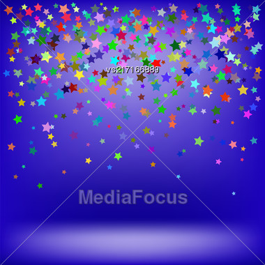 Set Of Colorful Stars On Soft Blue Background. Starry Pattern Stock Photo