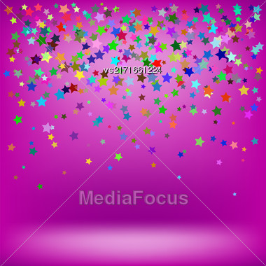 Set Of Colorful Stars On Soft Pink Background. Starry Pattern Stock Photo