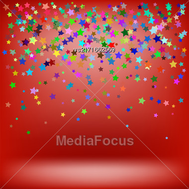 Set Of Colorful Stars On Soft Red Background. Starry Pattern Stock Photo