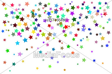 Set Of Colorful Stars On White Background. Starry Pattern Stock Photo
