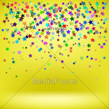 Set Of Colorful Stars On Yellow Background. Starry Pattern Stock Photo