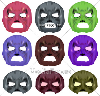 Set Of Colorful Superhero Mask Isolated On White Background Stock Photo
