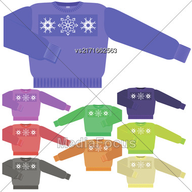 Set Of Colorful Sweater For Men Isolated On White Background Stock Photo