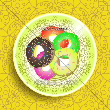 Set Of Colorful Sweet Donuts On White Ornamental Plate Stock Photo