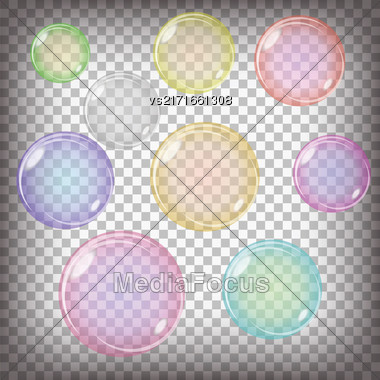 Set Of Colorful Transparent Bubbles Isolated On Grey Checkered Background Stock Photo