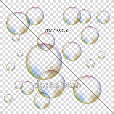 Set Of Colorful Transparent Foam Bubbles Isolated On Checkered Background Stock Photo