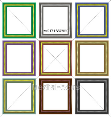 Set Of Colorful Wooden Frames Isolated On White Background Stock Photo