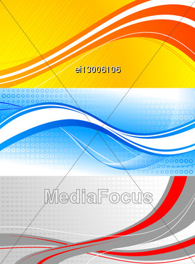 Set Of Colourful Banners: Waves On Bright Backgrounds Stock Photo