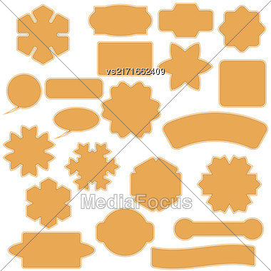Set Of Commercial Stickers Badges And Elements Isolated On White Background. Labels Collection Stock Photo
