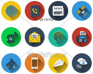 Set Of Communication Icons In Flat Design. EPS 10 Vector Illustration With Transparency Stock Photo