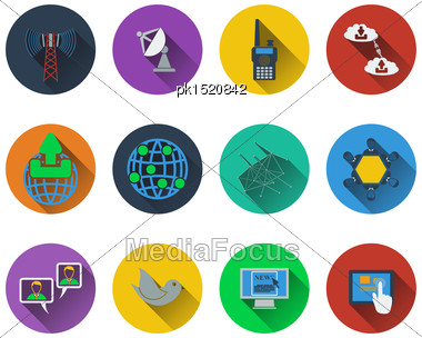 Set Of Communication Icons In Flat Design Stock Photo