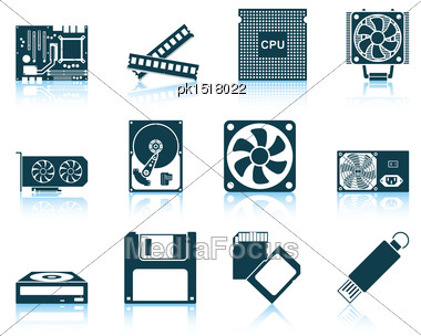 Set Of Computer Hardware Icons. EPS 10 Vector Illustration Without Transparency Stock Photo