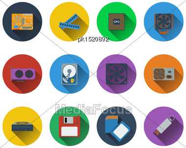 Set Of Computer Hardware Icons In Flat Design Stock Photo