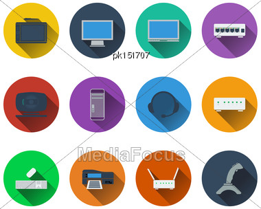 Set Of Computer Icons In Flat Design. EPS 10 Vector Illustration With Transparency Stock Photo